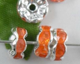 Per stuk verzilverde Kristal Rondellen 8 mm oranje