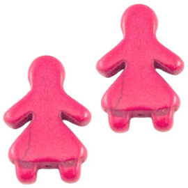 10 x Keramiek Poppetje kraal Roze 16x23 mm