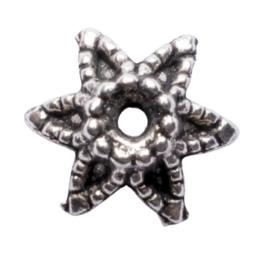 10 x metalen kraalkapje zilver kleur 9 x 4,5mm gat: 1,5mm