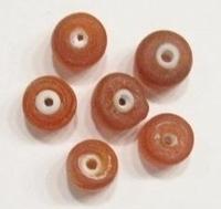 10 Stuks Glaskraal mat licht-oranje tonnetje 12 mm