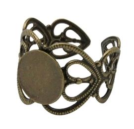 Prachtige verstelbare basis ring, Ø c.a 17mm Ø  tray 8mm  kleur geel koper