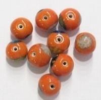 10 stuks Glaskraal India handbeschilderd rond oranje 10 mm