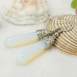 Schitterende oorbellen met Opal 8 x 50mm