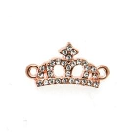 2x Schitterende kroon tussenzetsel met strass rose gold 24 x 13 x 3mm Gat: 2mm