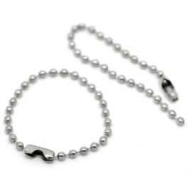 10 x Ball chain ketting met sluiting 2mm x 10,5cm incl. sluiting zilver kleur
