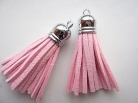 2 x Prachtig kwastje van suede  en messing  12 x 56mm licht roze