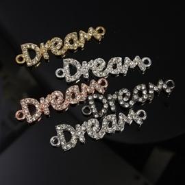 Schitterende tussenzetsel Dream (droom) met strass, 5 verschillende kleuren 40 x 10 x 2,5mm, Gat: 2mm