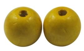 10 x Houten Kralen Rond 12mm gat c.a. 3mm, geel