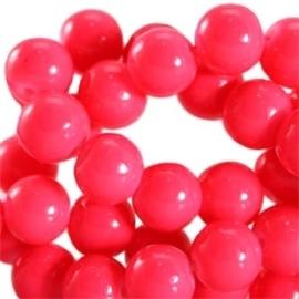 15 stuks Keramische Glaskralen 8mm  Neon paradise pink