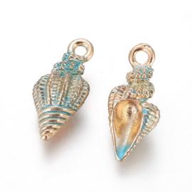2 x Metalen conische bedels shell light deep sky blue ca. 19,5 x 9 x 7~9mm oogje 1,4mm