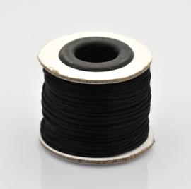 Rol met 30 meter satijn koord Nylon Marcramé koord 1mm kleur zwart
