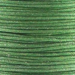 1 meter Wax-koord Metallic groen  1mm  (op = op!) Kleur is lichter