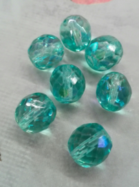5 x turquoise AB 10mm Gat: 1mm