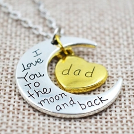 Prachtige ketting 5cm bedel: love you to the moon and back Dad vader  ketting: 40cm