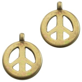 1 x DQ metaal bedel met peace teken 15x 18  mm Antiek Brons