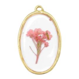 1 x  Bedels met gedroogde bloemetjes ovaal Gold-pink