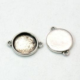 2 x Houder O: Prachtige Camée of Cabochon houder oud zilver kleur. Binnenzijde: 15mm