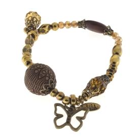 Prachtige Biba armband oud goud en geel koper kleur vlinder
