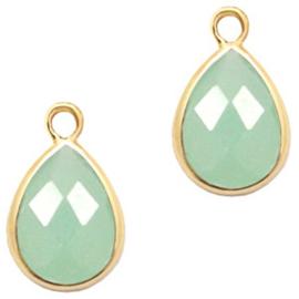 Per stuk Hangers van crystal glas druppel 6x8mm Green opal-gold