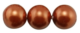 10 x prachtige glasparel kleur: Chocolate 14mm