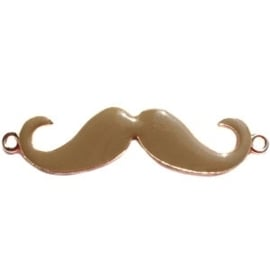2 x Bedel goud 2 ogen moustache snor  large Bruin ca. 55 x 13 mm