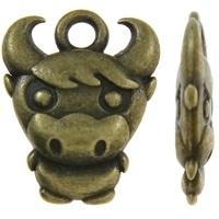 Tibetaans zilveren bedel van een koe 12 x 15 x 3mm Gat c.a. 2mm geel koper kleur