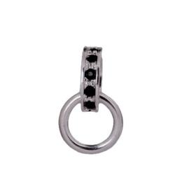 Charms Hanger met Zwarte Strass 925 Sterling Zilveren Bedel met karabijnsluiting
