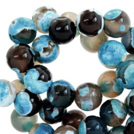 10 x Half edelsteen kralen rond 8mm agaat Dark ocean blue