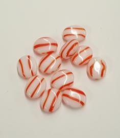 10 stuks glaskraal ovaal  wit met rood/oranje steep 12x10 mm gat 1mm