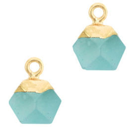 1 x Natuursteen hangers hexagon Turquoise blue-gold Jade