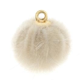 Pompom bedels faux fur 16mm goud creme bruin