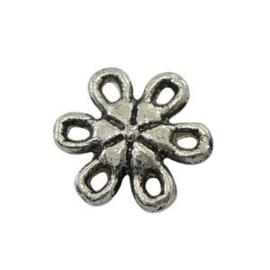 5 x Metalen bedel tussenstuk Bloem Antiek Zilver 9 mm