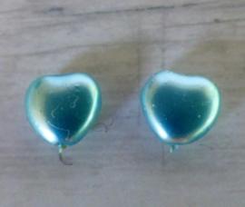 Glasparel Hart blauw  7.9 x8.5 x 4mm oogje: 0.9mm