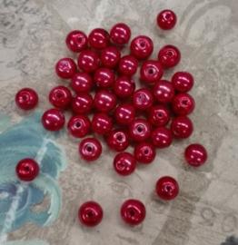 80x prachtige glasparels  6mm Gat: 1mm Appel rood