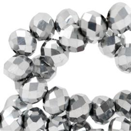 15 x Top Facet kralen 6x4 mm disc Labrador silver