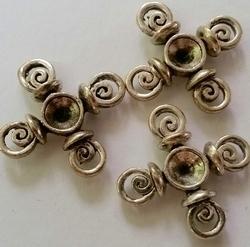 Per stuk Antiek zilveren metalen kastje spiralen 20 mm ruimte voor 5 mm plaksteen