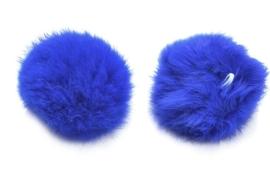 Super zachte harige pluizenbol c.a. 60mm doorsnede, met lusje van elastiek Kobalt Blauw
