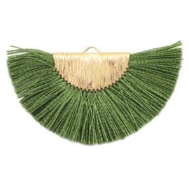 Kwastjes hanger Gold-olive green