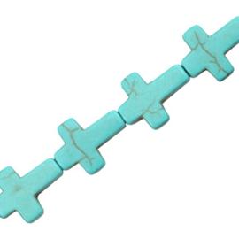 5x Keramiek turquoise kralen kruis 14mm Turquoise blauw