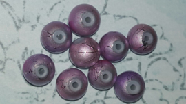 20 stuks spray painted lila glaskralen van 8 mm