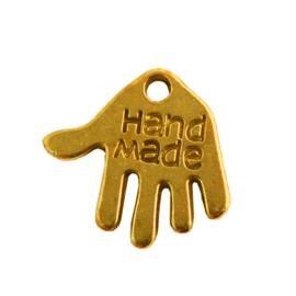 """10 stuks tibetaans zilveren hand met """"Hand made"""" erop, goudkleur 12 x 10 x 1mm gat: 1mm"""