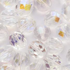 15  x ronde Tsjechië  kraal kristal facet mix 6 mm en 8mm kleur: transparant gat: 1mm