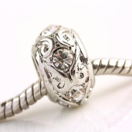 Schitterende European Jewelry bedel kraal van metaal met strass  8x13mm gat:7mm