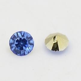 5 x Puntsteen half rond Preciosa voor Puntsteen SS39 Setting c.a. 8 x 4mm blauw