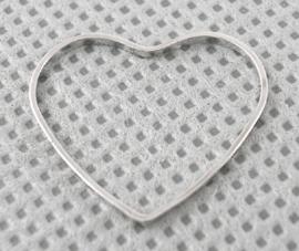 6x Prachtige metalen tussenzetsel van een hart  21 x 18,5 x 1mm
