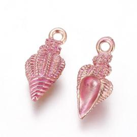 2 x Metalen nonische bedels shell light gold deep pink ca. 19,5 x 9 x 7~9mm oogje 1,4mm