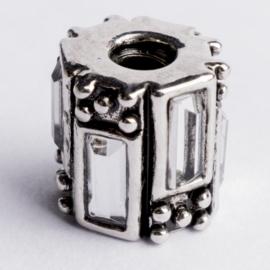 Be Charmed kraal zilver met een rhodium laag (nikkelvrij) c.a.12x 10mm groot gat: 4mm