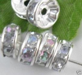 50 stuks Verzilverde Kristal Rondellen 6mm blank AB