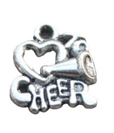 4x Tibetaans zilveren bedel met de tekst  cheer 14x17mm gat 2mm
