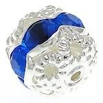 Verzilverde kristal bal 8,5 x 7,5mm gat 1,2mm